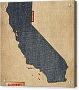 California Map Denim Jeans Style Acrylic Print by Michael Tompsett