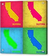 California Pop Art Map 1 Acrylic Print by Naxart Studio