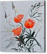 California Poppies Sumi-e Acrylic Print by Beverley Harper Tinsley