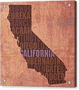 California Word Art State Map On Canvas Acrylic Print