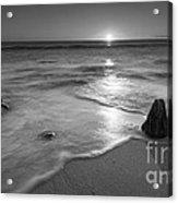 Calm Winter Waves Bw Acrylic Print