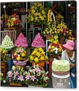 Cambodia Flower Seller Acrylic Print by Mark Llewellyn
