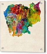 Cambodia Watercolor Map Acrylic Print