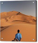 Camels In Sahara Desert. Erg Chebbi Acrylic Print