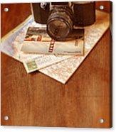 Camera Map And Postcards Acrylic Print