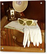 Camera Sunglasses On Luggage Acrylic Print