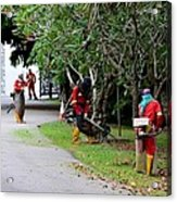 Camouflaged Leaf Blowers Working In Singapore Park Acrylic Print