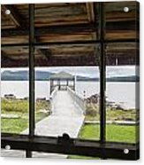 Camp Bellevue Dock From Window Acrylic Print