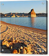 Campfire Ring On Lone Rock Beach  Acrylic Print