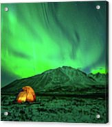 Camping Under Northern Lights Acrylic Print