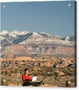 Camping With Laptop Acrylic Print