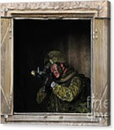 Canadian Army Soldier Conducts Military Acrylic Print by Stocktrek Images