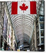 Canadian Flag Over Eaton Center Acrylic Print