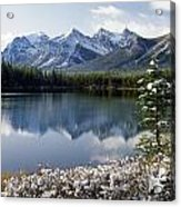 1m3541-canadian Peak Reflected In Herbert Lake Acrylic Print