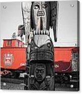 Canadian Totem And Railway Acrylic Print