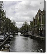 Canal Behind Oude Kerk In Amsterdam Acrylic Print