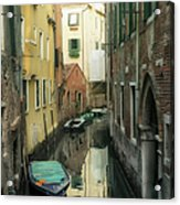 Canal Boats And Reflections Venice Italy Acrylic Print by Marianne Campolongo