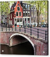 Canal Bridge And Houses In Amsterdam Acrylic Print