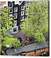 Canal Houses And Houseboat In Amsterdam Acrylic Print