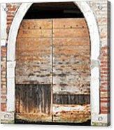 Canalside Weathered Door Venice Italy Acrylic Print