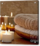 Candles And Towels In A Spa Acrylic Print by Olivier Le Queinec