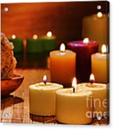 Candles Burning In A Spa  Acrylic Print