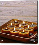 Candles In Wood Tray Acrylic Print