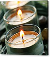 Candles On Green Acrylic Print