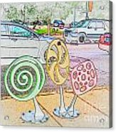 Candy Bike Rack In Colored Pencil Acrylic Print