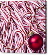 Candy Cane And Red Ornament Acrylic Print