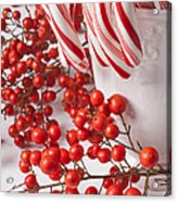 Candy Canes And Red Berries Acrylic Print