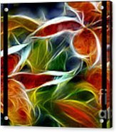 Candy Lily Fractal Triptych Acrylic Print