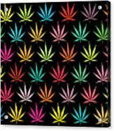 Cannabis Leaf Multi-coloured Pattern Acrylic Print