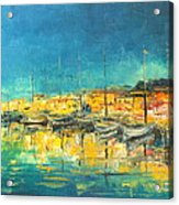 Cannes By Night Acrylic Print