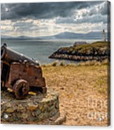 Cannon At Llanddwyn  Acrylic Print by Adrian Evans