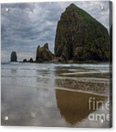 Cannon Beach Haystack Reflection Acrylic Print