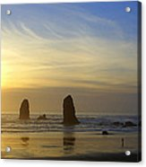 Cannon Beach Sunset Acrylic Print by DerekTXFactor Creative