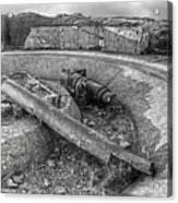 Cannon Remains From Ww2 Bw Acrylic Print
