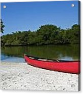 Canoe And Beach Acrylic Print