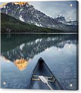 Canoe At Lower Waterfowl Lake With Acrylic Print