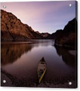 Canoe In Lake Near Shore, Arizona Acrylic Print