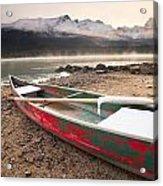 Canoe On Misty Fall Morning, Maligne Acrylic Print