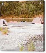 Canoe Tent Camp At Yukon River In Taiga Wilderness Acrylic Print