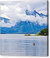 Canoeing In Colter Bay In Grand Teton National Park-wyoming Acrylic Print