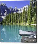 Canoes In Moraine Lake And Valley Of Acrylic Print