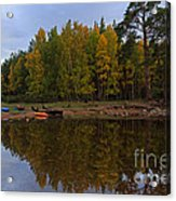 Canoes On The Shore At Loch An Eilein Acrylic Print