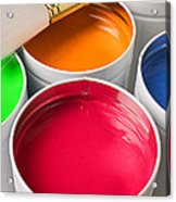 Cans Of Colored Paint Acrylic Print