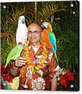 Can't Get Brighter Than This  Artist Navinjoshi In Hawaii Travel Vacations With Trained Parrots By P Acrylic Print
