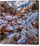 Canyon Stream Winterized Acrylic Print