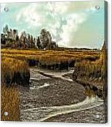 Cape Cod Americana - Low Tide In A Barnstable Village Marsh -  Acrylic Print